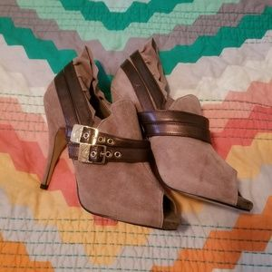 Baby Phat Mocha open toe ruffle heels 7.5